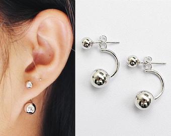 db9d3f3182eb40 Silver Ear Jacket, Double Ball Ear Jacket, Ball Earrings, Geometric Earrings,  Minimalist Earrings, Front Back Earrings, Modern Earrings,Gift