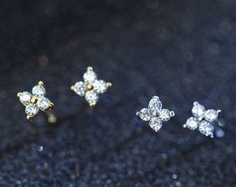 d1a162236 Dainty Gold Stud Earrings, Four Leaf Clover Tiny Flower Studs, CZ Studs,  Tragus and Cartilage Earring, Minimalist Earrings,Multiple Piercing