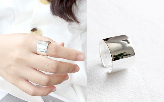 Wide Band Ring Silver Crystal Ring Statement Silver Stack Ring Silver Cuff Ring Silver Wide Ring Silver Band Adjustable Ring