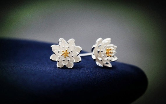 Silver Lotus Studs Lotus Flower Studs Lotus Earrings Flower Etsy