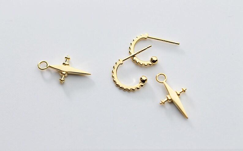 Gold Hoop Earrings with Cross Charm Small Huggie Hoop Earrings Gift Hoop Stud with Cross Drop Earrings Minimalist Earrings