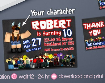 Roblox Birthday Invitation Party Printables Invite Favors Printable Digital Download