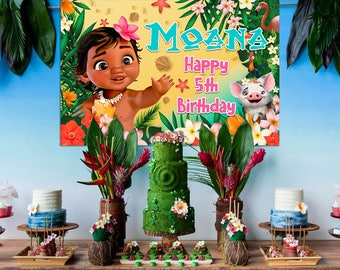 Moana Backdrop DOWNLOAD ONLY Banner Baby Party Supplies Birthday Decorations Theme Printable