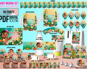 Baby Moana Party Supply Birthday Kit DOWNLOAD And PRINT Printables Invitation Decoration