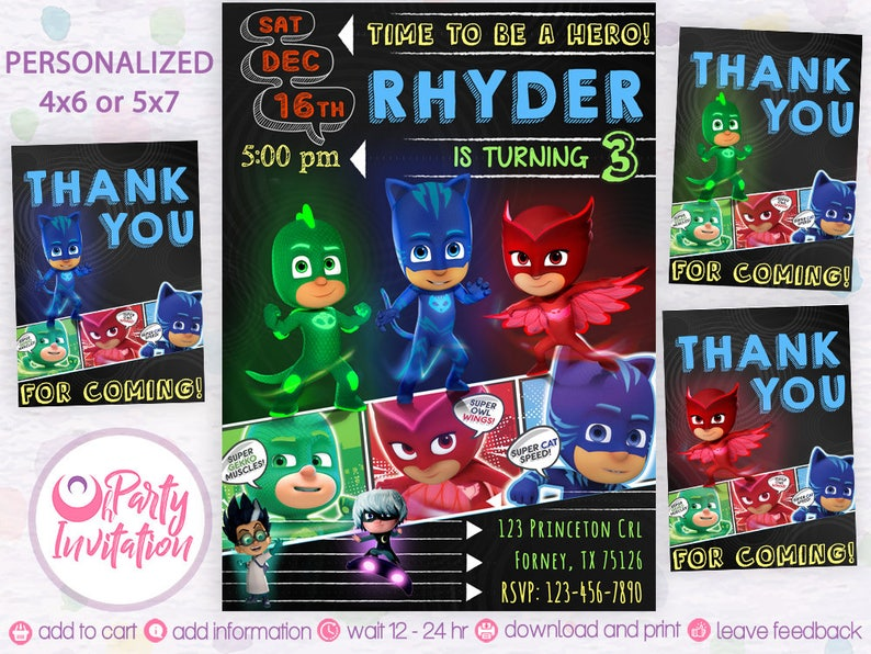 Pj Mask Birthday Invitation Invitations