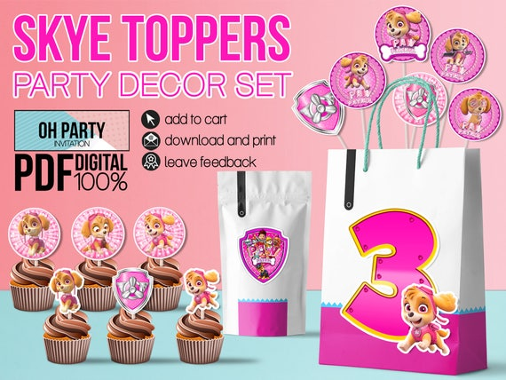 21 Pink Skye Paw Patrol Toppers Party Decor