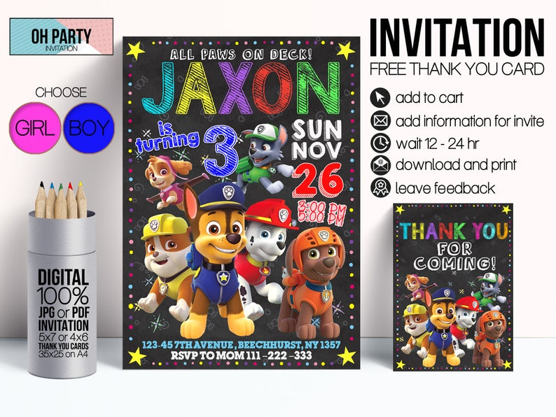 Paw Patrol Birthday Invitation And Free Thank You Tags Girl Printables Party Supplies