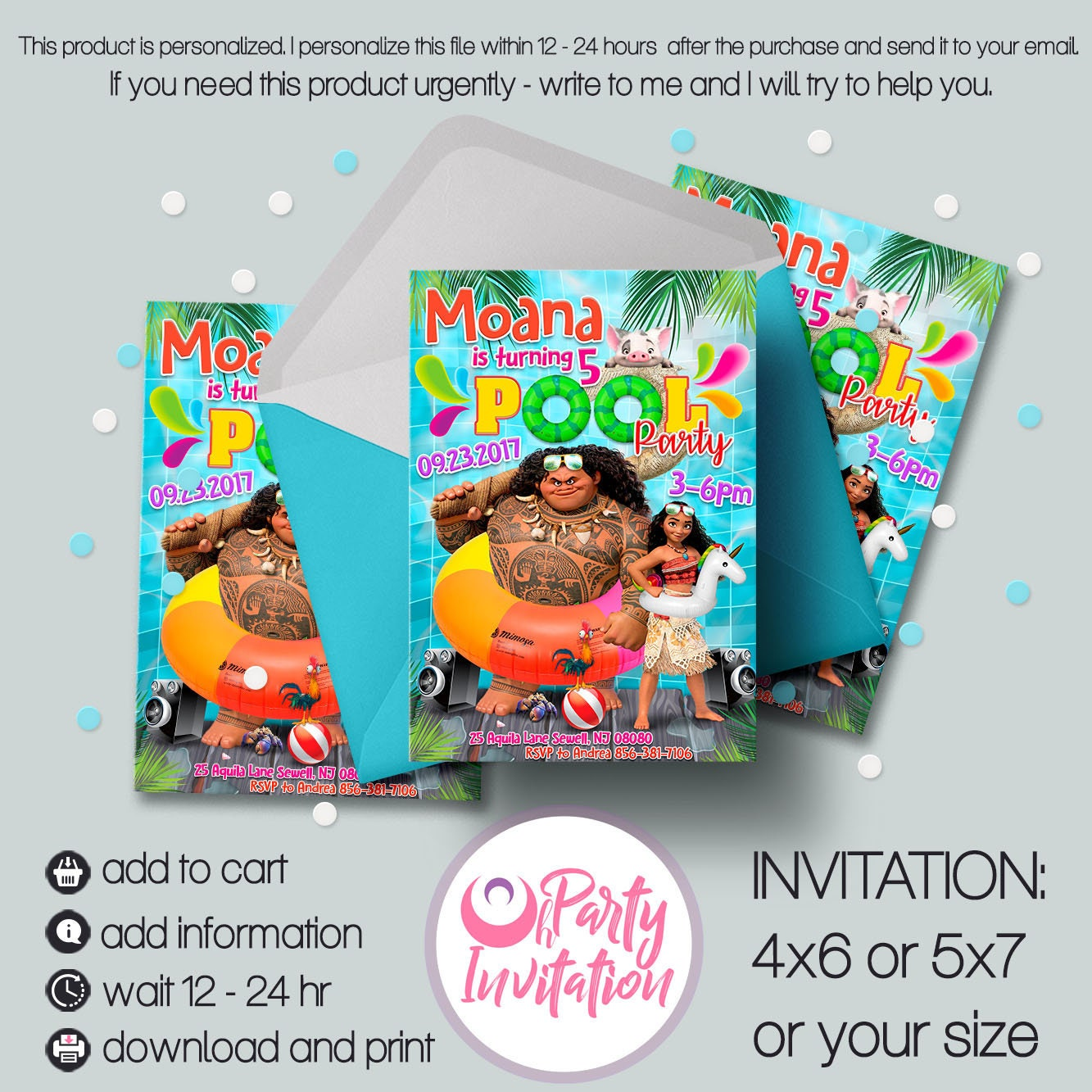 Moana Pool Party Invitation And Free Thank You Tags