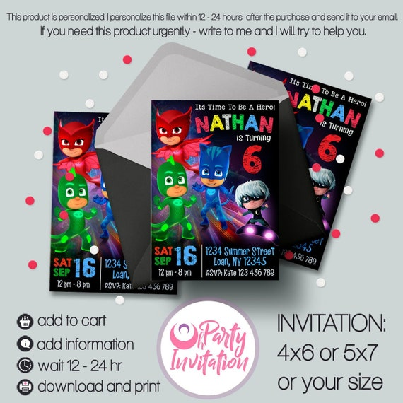 Pj Mask Invitation Download Printable Masks Invite Party Birthday