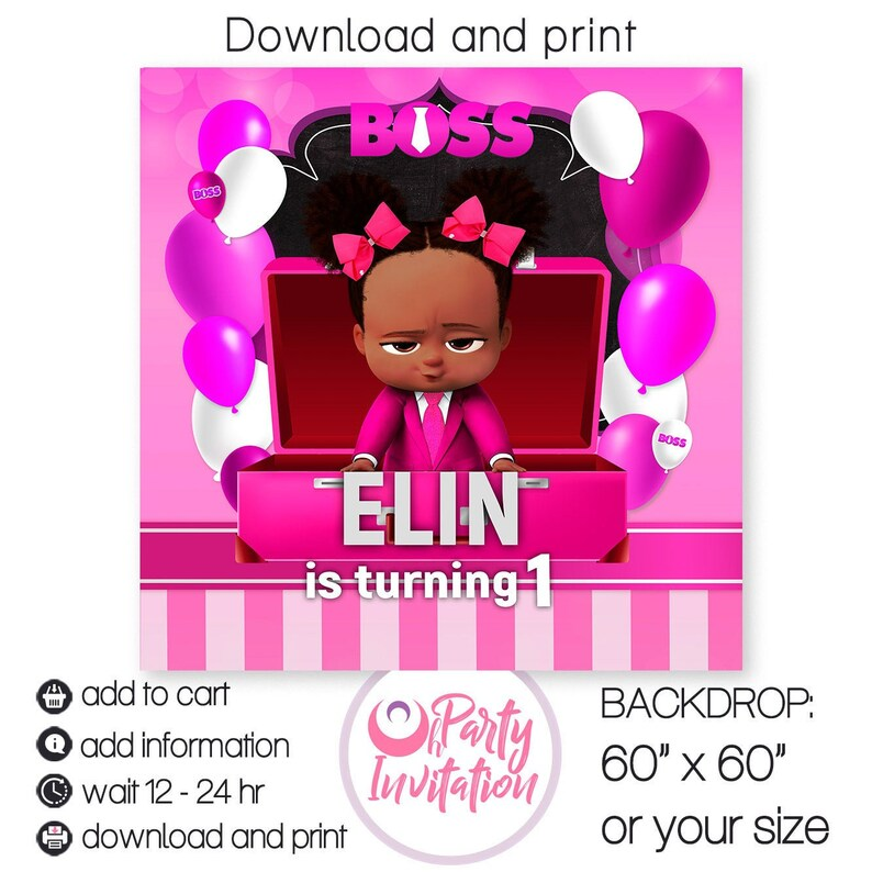 Girl Boss Baby Backdrop Digital African American Boss Baby Banner Party Supply Boss Baby Birthday Decorations Printables Print By Yourself