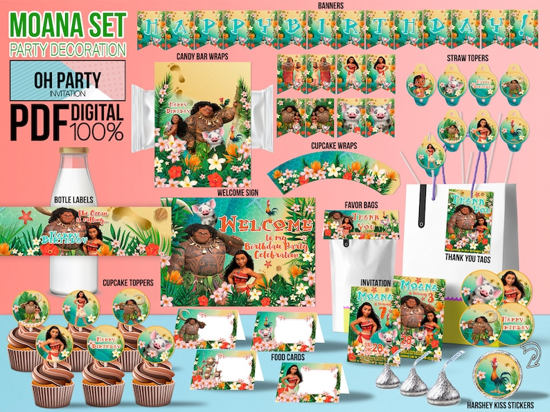 Moana Birthday Decoration DOWNLOADABLE Party
