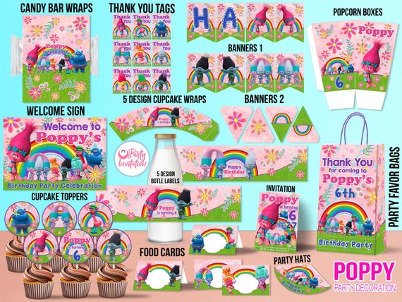 Personalized Trolls Birthday Decorations DOWNLOAD ONLY Party