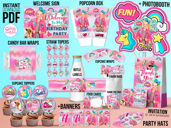 Jojo Siwa Party Favors DOWNLOAD ONLY Birthday Kit Supply Decorations With Invitation