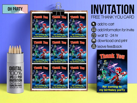 Power Rangers Invitation Download Free Thank You Tags