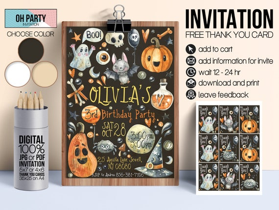 photo regarding Free Printable Halloween Invitations for Adults called Halloween birthday invitation for children, Halloween get together