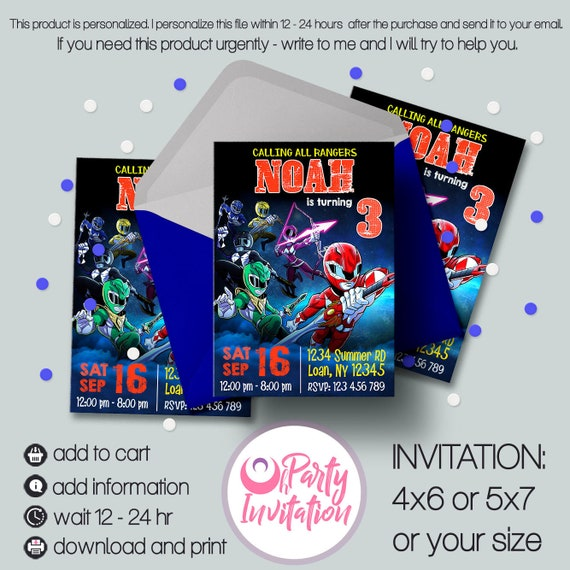 Power Rangers Invitation Download Ranger Party Printable Birthday Printables