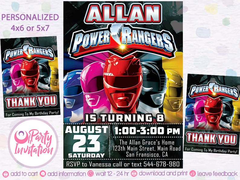 Power Rangers Invitation And Free Thank You Tags Power Ranger Party Power Rangers Birthday Power Rangers Printables Power Ranger Invite