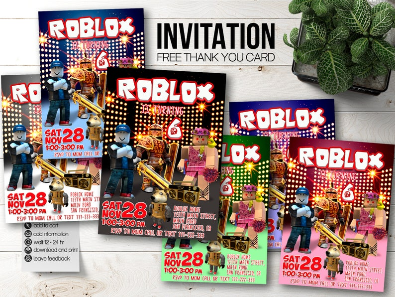Roblox invitations Roblox party  Roblox birthday invitation  Roblox invite   Roblox Favors  Roblox printable  Roblox download  Roblox digital