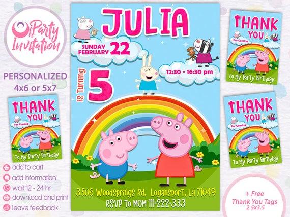Peppa Pig Invitation Free Thank You Tags Birthday Party Printables Card Digital Invite