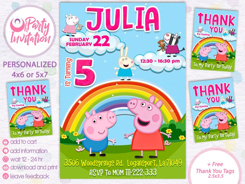 Peppa Pig Invitation Free Thank You Tags Birthday