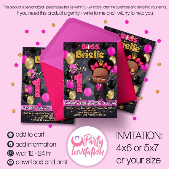 African American Girl Boss Invitation Boss Girl Baby Party Invite Black Gold Pink Birthday Decoration Printables Patry Supply