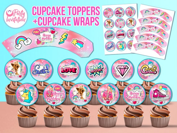 Jojo Siwa Cupcake Toppers DOWNLOAD ONLY Wrapers Birthday Party Supply Decorations