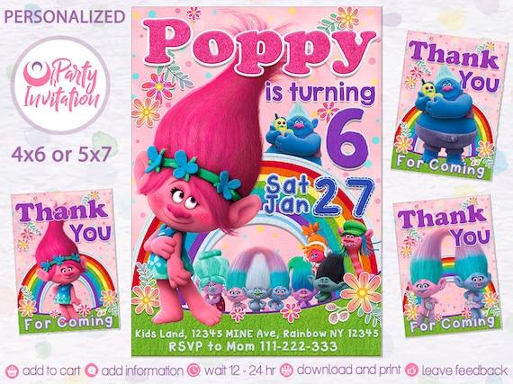 trolls invitation troll birthday invitations princess poppy troll