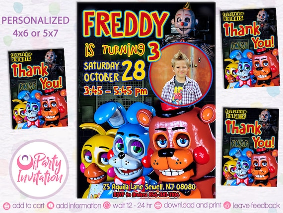 Five Nights At Freddys Invitation Printable Fnaf