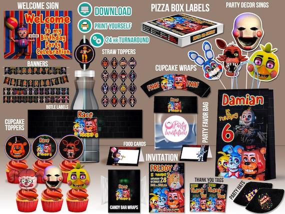Fnaf Party Kit DOWNLOAD PRINT Supplies FNAF Printables Five Nights At Freddy Decoration 5
