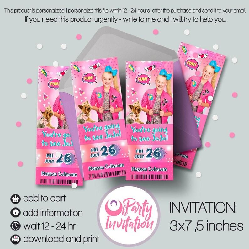b60373657e Jojo Siwa Fake Ticket Invitation for Tour 2019 Jojo Gifts   Etsy