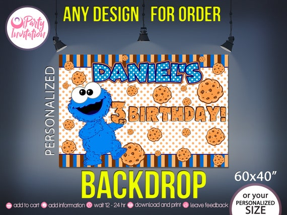 Cookie Monster Backdrop DOWNLOAD ONLY 1st Birthday