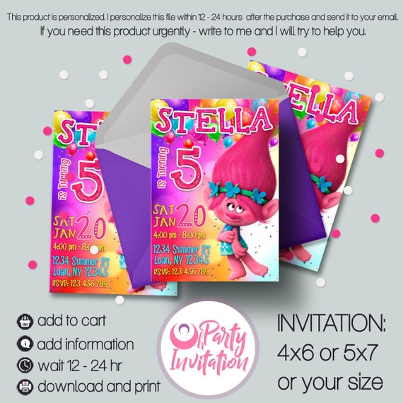 Troll Birthday Invitation Trolls Invitations Princess Poppy Digital Party Suplly Printables