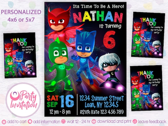 Pj Mask Invitation Download Free Thank You Tags Printables