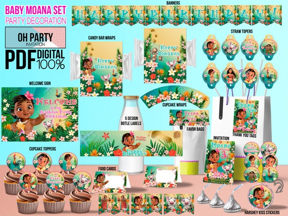 Baby Moana Party Supply Birthday Kit DOWNLOAD And PRINT