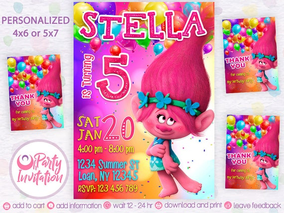 Trolls Invitation And Free Thank You Cards Troll Birthday