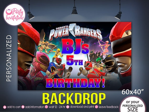 Power Rangers Backdrop DOWNLOAD ONLY Banner Party Supplies Printables Birthday Decorations
