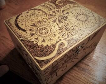 Wood Burned Art Jewelry Box  6 x 6