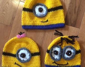 Minions crocheted hats