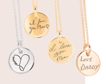 Handwriting Necklaces Engraved Signature Handwriting Gift for Mom Personalized Handwritten Charm Necklace, Signature Charm, Engraved Jewelry