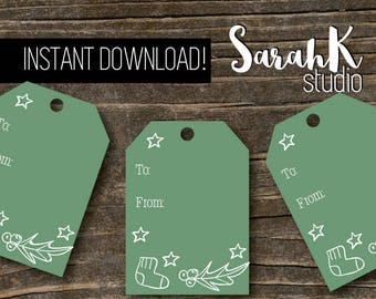 Stocking and Holly Christmas Holiday Gift Tag Green Hand Drawn Cute Printable Instant Download