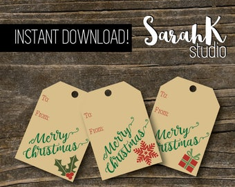 Printable Christmas Gift Tags Instant Download Presents Holly Snowflake Craft Paper