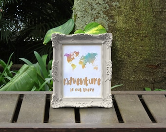 Adventure is Out There Watercolor Printable Art Instant Download Motivational Art Inspirational Art