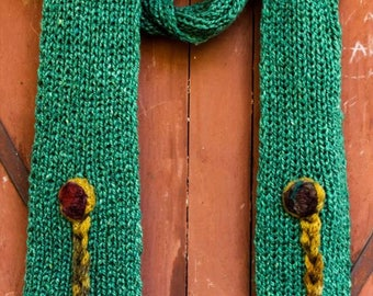 Designer's unique fashionable handmade green knitted scarf and cap