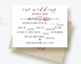 boho wedding printable rsvp cards mad libs rsvp wedding reply cards response cards boho arrows feather rsvp wedding card funny rsvp card diy