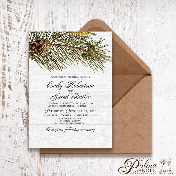 mountain wedding invitations greenery wedding invites Winter pine wedding invitation set template rustic woodlands forest woodsy #130-5