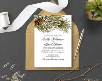 Outdoor Wedding Invitations Forest Wedding Printable Rustic Wedding Invitations Forest Pine Pinecone Nature Wedding Invitation Editable #FPS