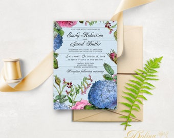 Roses & Hydrangea Garden Wedding Invitation Printable Blue and Pink Flower Wedding Invitation Rustic Wedding Floral Invitation Template #BHS