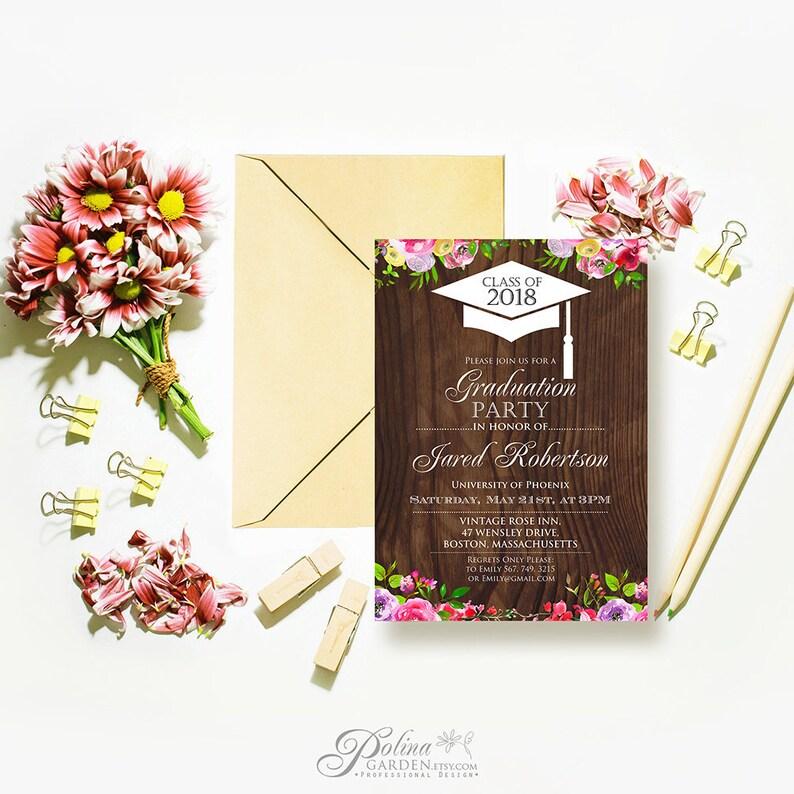 Rustic Graduation Invitations Template Printable University Invites Editable Pdf Grad Party Wood Floral Downloadable