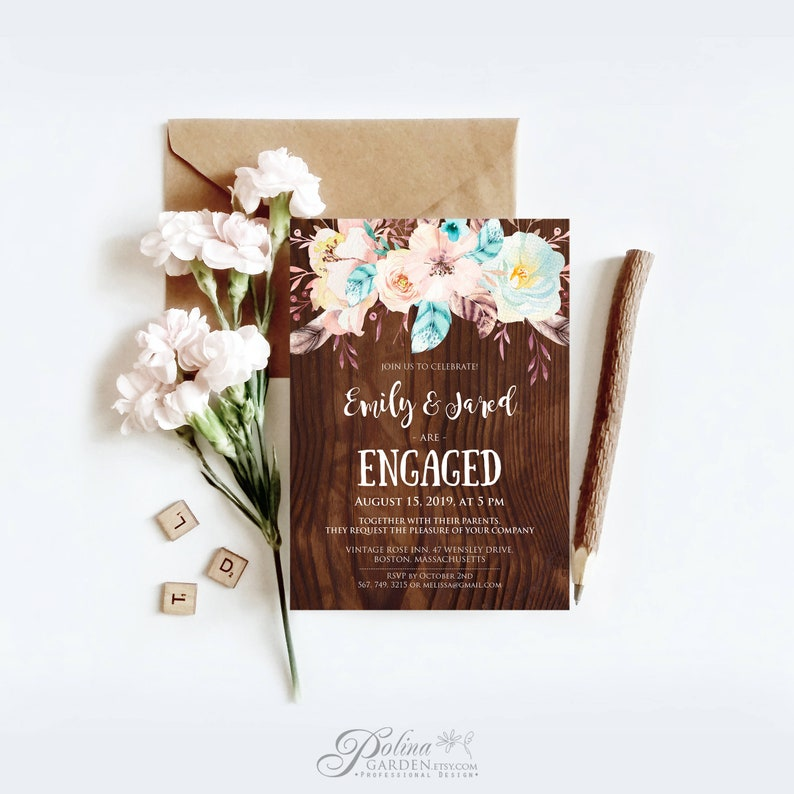 Rustic Engagement Invitation Template Printable Party Invite Boho Floral Dinner Download Barn Wedding BFWS