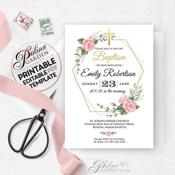 baptism invitation template girl baptism invite printable | etsy  etsy